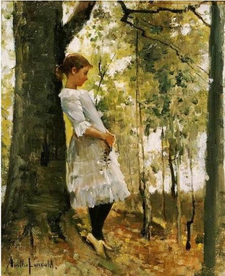 Amelie Helga Lundahl - Girl in birch forest