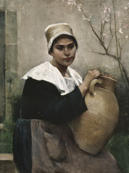 Amelie Helga Lundahl - Breton Girl Holding a Jar