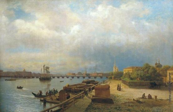 Лагорио - Вид на Неву и Петропавловскую набережную