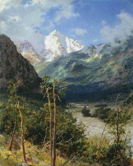 Киселев А. - Горный пейзаж. Вершины Эльбруса