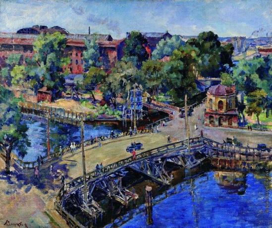 Осмеркин - Ленинград. Пейзаж с деревянным мостом