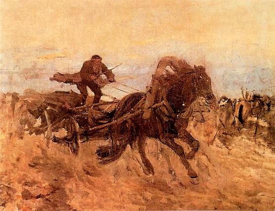 Jozef Chelmonski - Jew in a Wagon