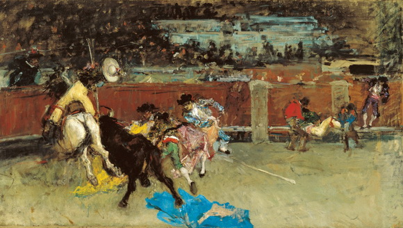 Mariano Fortuny - bullfight wounded picador