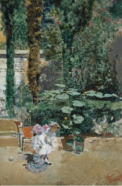 Mariano Fortuny - young girl in the garden of the artists studio granada
