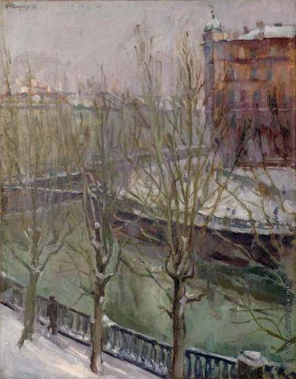 Осмеркин - Зимний пейзаж с рекой