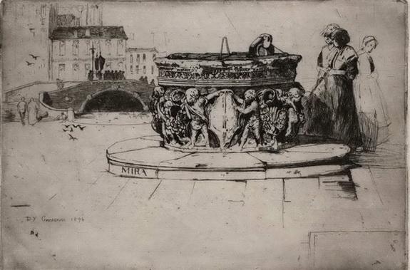 David Young Cameron - A Venetian Fountain