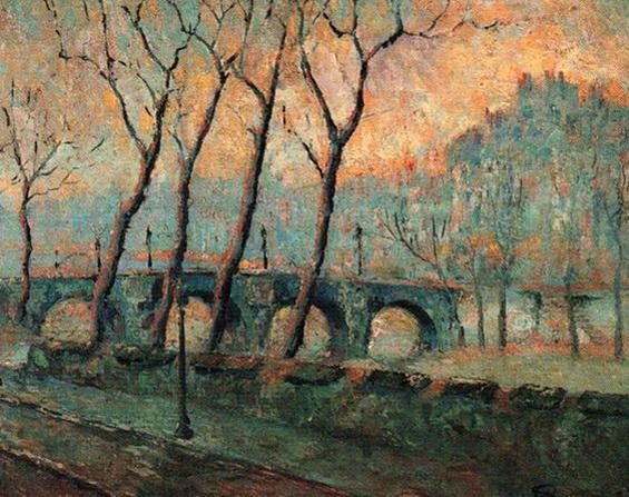 Emilio Boggio - paisaje con puente