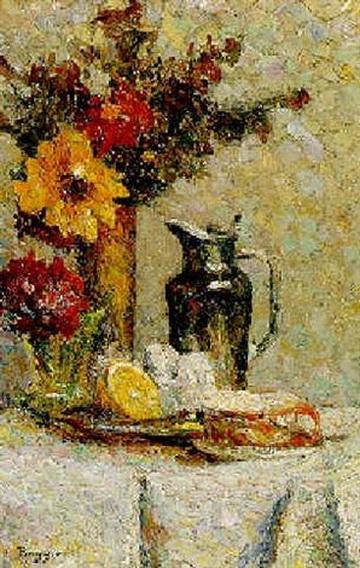 Emilio Boggio - Fleurs, tasse et jarre d'etain glaze