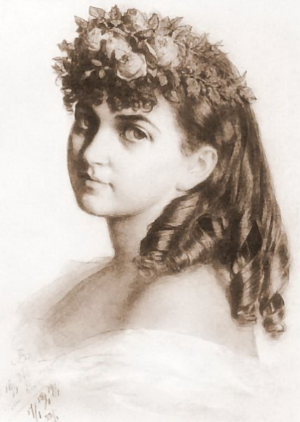 Artur Grottger  - Wanda Monne in treat dress