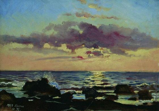 Ге Николай - Закат на море в Ливорно