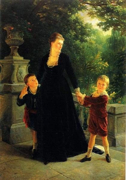 Ге Николай - Портрет М.А. Скоропадской с сыновьями