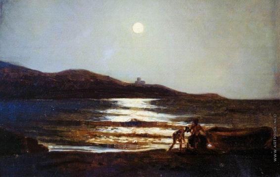 Ге Николай - Вид из Сан-Теренцо на Леричи ночью