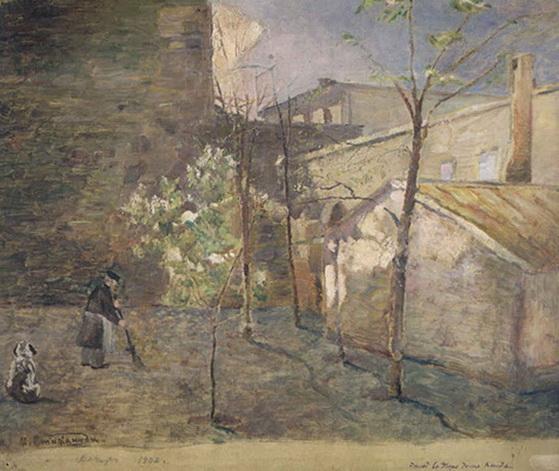 Стилиануди - Вечер. Этюд во дворе дома Ксида