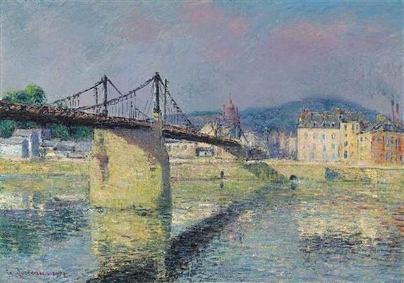 Gustave Loiseau - Le pont suspendu d'Elbeuf