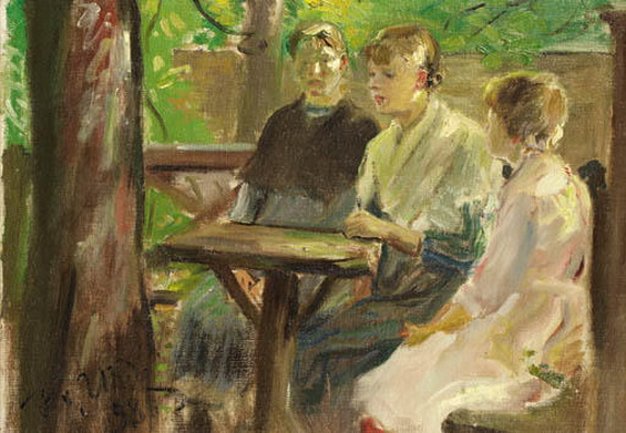 Fritz Von Uhde - The Daughters of the Artist in the Garden