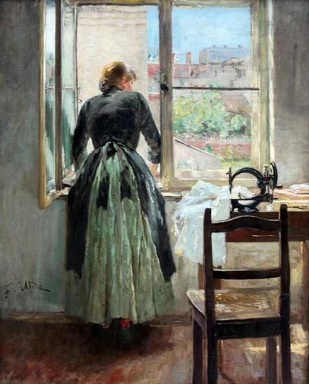 Fritz Von Uhde - Seamstress At The Window
