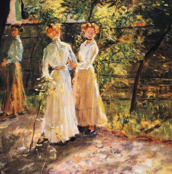 Fritz Von Uhde - Drei Madchen Im Garten