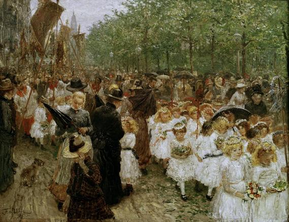 Fritz Von Uhde - Kinderprozession im Regen