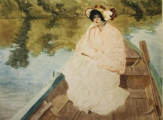 Louis Abel Truchet -   Lesende Dame im Ruderboot.