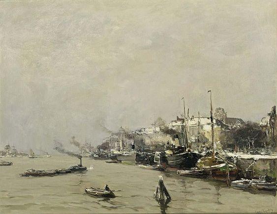 Louis Apol - Gezicht op Dordrecht in de winter