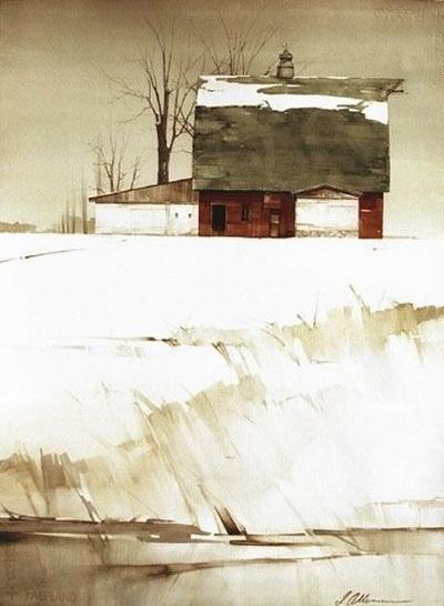 Joseph Alleman - Red Barn In Winter