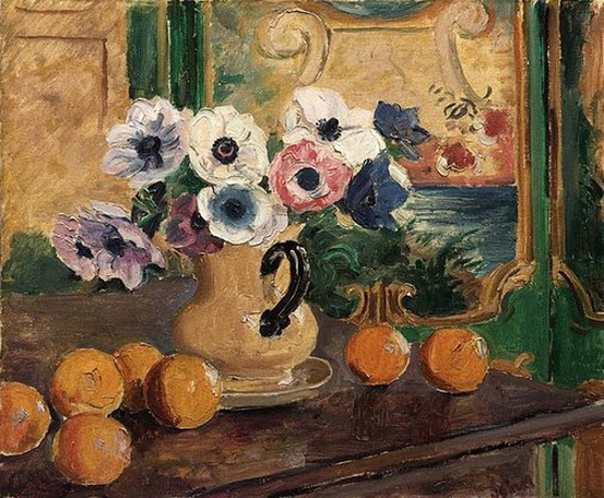 Augustus Edwin John - Anemones and oranges