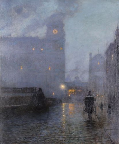 Lowell Birge Harrison - Grand Central and the Biltimore in hazy twilight