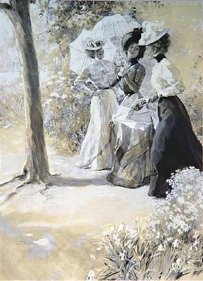 Oscar Bluhm - Three Ladies in the Park