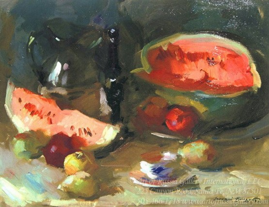 Sergei Bongart - Still Life with Watermelon