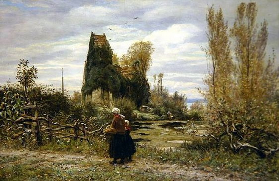 William John  Hennessy - Figures on a Path, Normandy