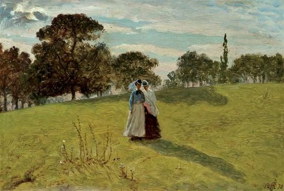 William John  Hennessy - Two Women in a Landscape