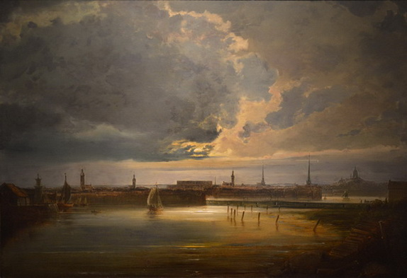 Peder Balke -  Moonlit View of Stockholm
