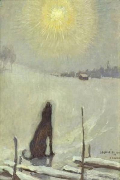 Pekka Halonen - Dog howling at the moon
