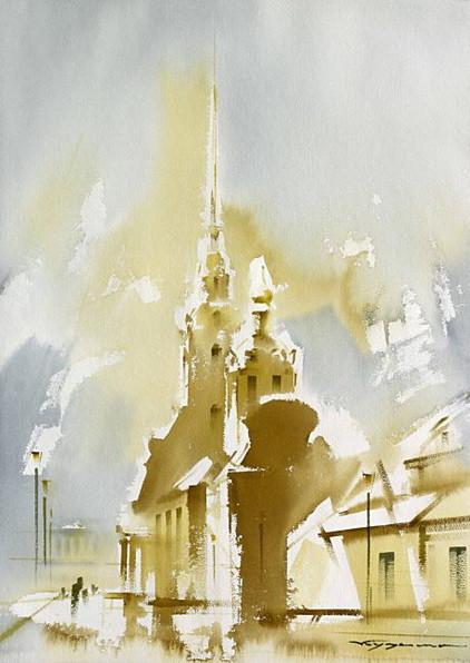 Кузема -  Петропавловский собор в морозный день