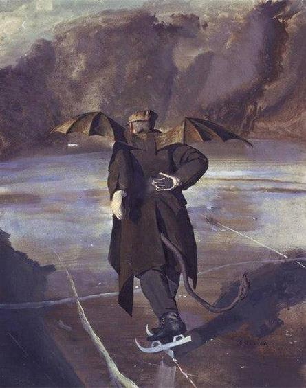John Maler Collier - The devil skates on the frozen Hell