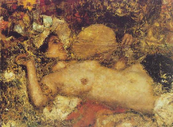 Antonio Mancini  - A female nude reclining