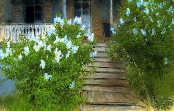 Levitan -  Spring. White lilacs