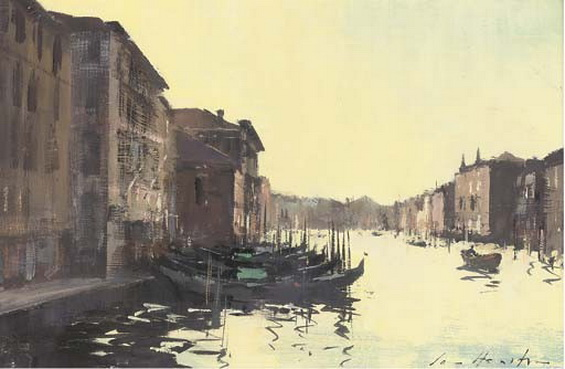 Ian Houston - Evening Light on the Grand Canalsigned