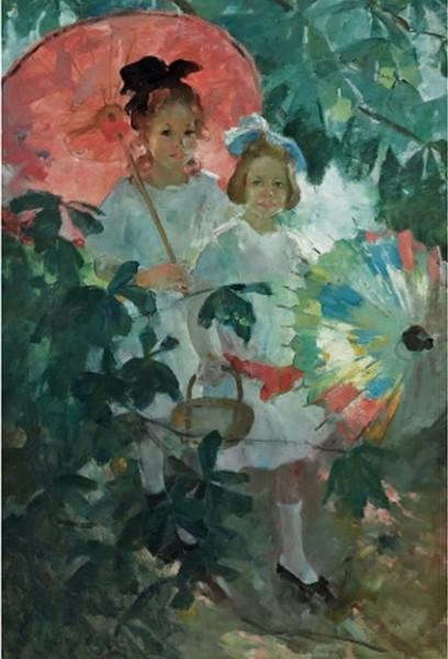 Martha Walter Children with Japanese Parasols