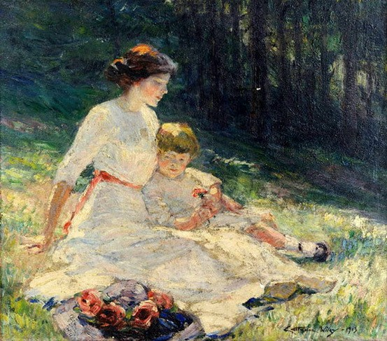 Catherine Wiley - Seated Mother And Child In A Meadow