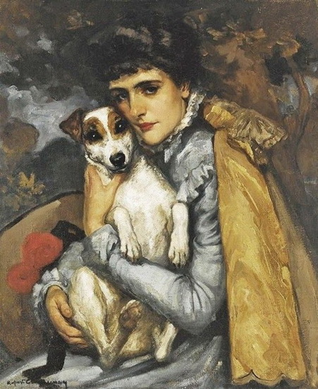 Rupert Charles  Bunny -  Jeanne with her Terrier