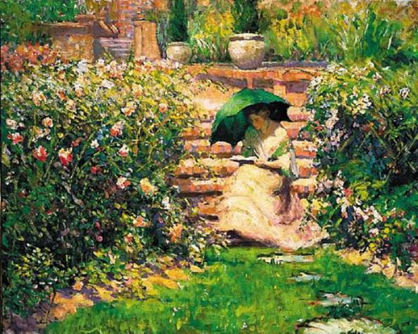 Richard Emil Miller - Woman Reading in a Garden