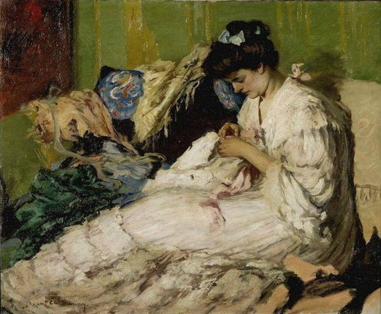 Rupert Bunny - Lady Sewing