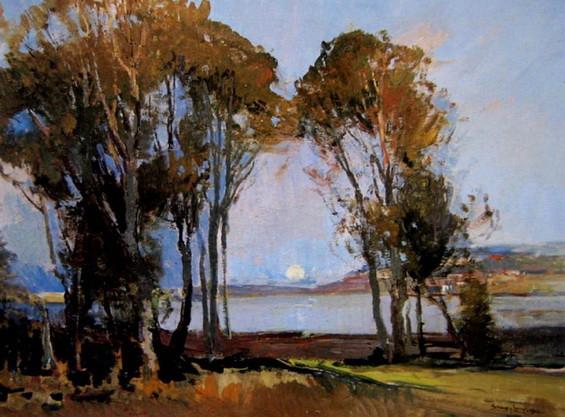 Sydney Long - Moonrise Over Narrabeen Lakes