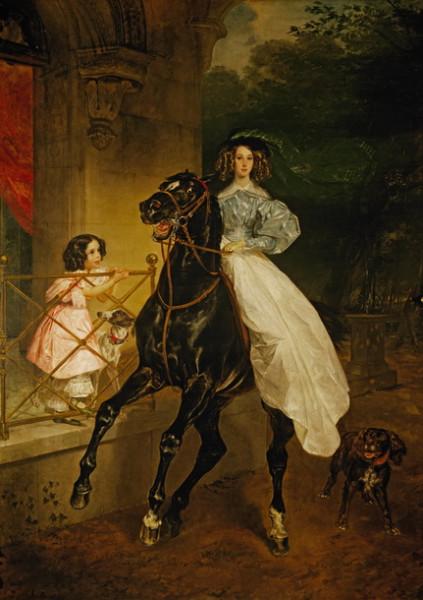 Брюллов - Всадница. Портрет Джованины и Амацилии Пачини