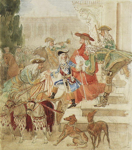 Брюллов - Прогулка Людовика XV в детстве