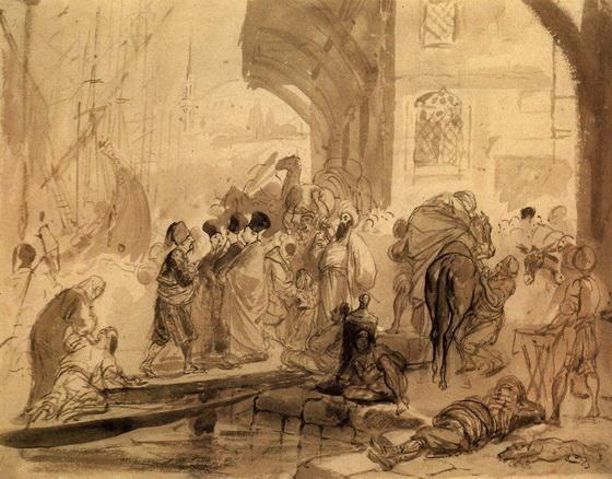 Брюллов - Гавань в Константинополе