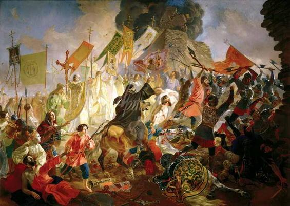 Брюллов - Осада Пскова польским королём Стефаном Баторием в 1581 году