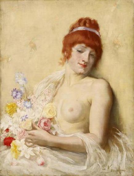 arthur kampf - Portrait Of a Lady With Flowers