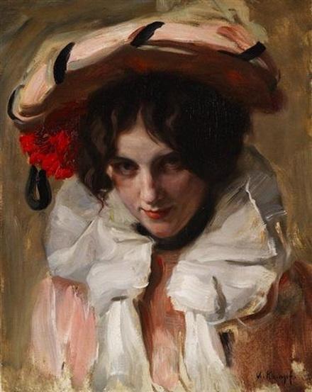 arthur kampf - Portrait einer jungen Dame mit Hut